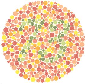 73 – Osobe koje normalno raspoznavaju boje vide broj 73. Ništa – Većina osoba s poteškoćom u raspoznavanju boja ne vide nikakav ili vide pogrešan broj.